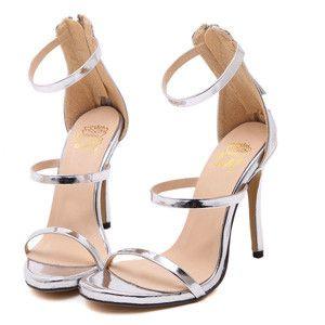 Metallic Strappy Sandals Silver Gold Platform Gladiator Sandals Women High Heels