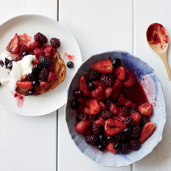 Fire-Roasted Berry Crostini with Honey Crème Fraîche | Food & Wine