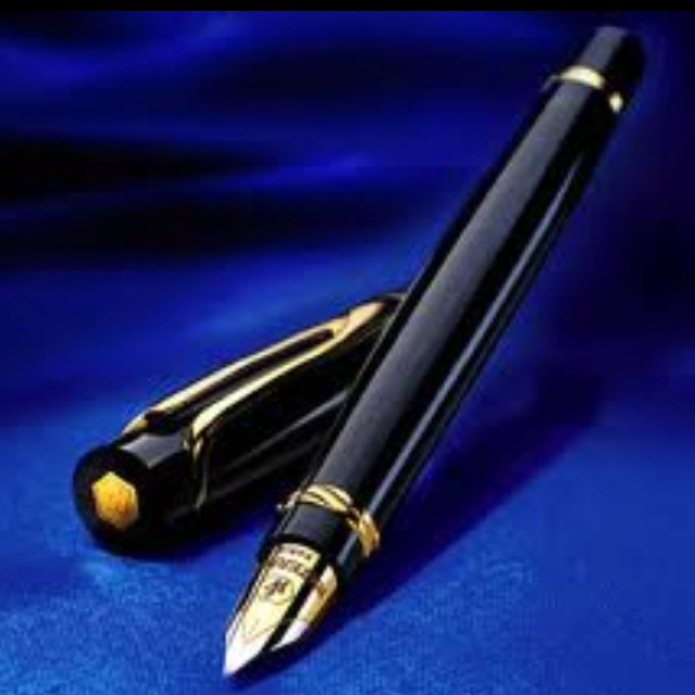 Fountain Pen with Royal Blue ink.