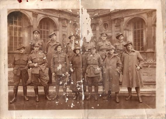 WWI photo taken at the Louvre; my grandfather is front row, second from left