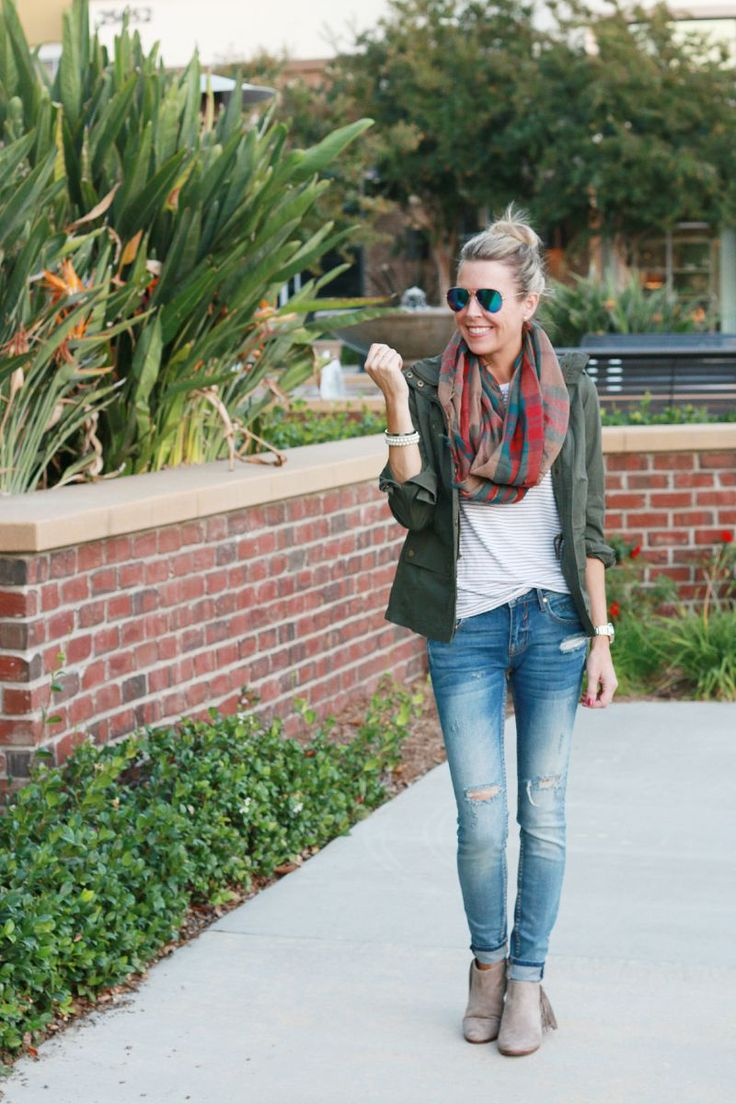 Casual Fall outfit - Vigoss Distressed Skinny Jeans (Nord), Pale Striped Vintage Broken in Tee (Loft), Plaid Infinity Scarf (Nord), Sam Edelman Paige Fringed Ankle booties in Putty Suede, Gail Jacket ($40) from Gray Monroe