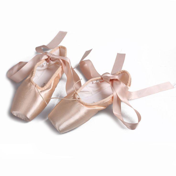 Балет pointe shoe Бесплатная Доставка Девушки Атласная Профессиональный Toe балетки пуанты Балетные Пуанты С Лентами