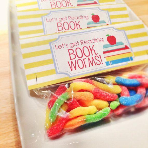 Back to School Treat Bag Tags: Book Worm! -Printable PDF