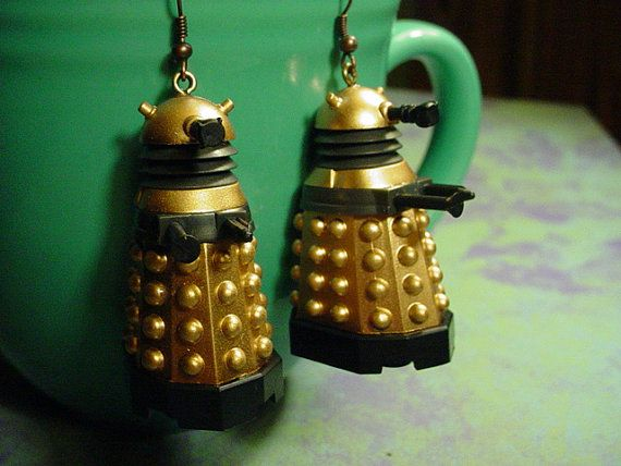 Exterminate! Exterminate!!!!! Russell T Davies style Doctor Who Daleks Earrings by chgallery