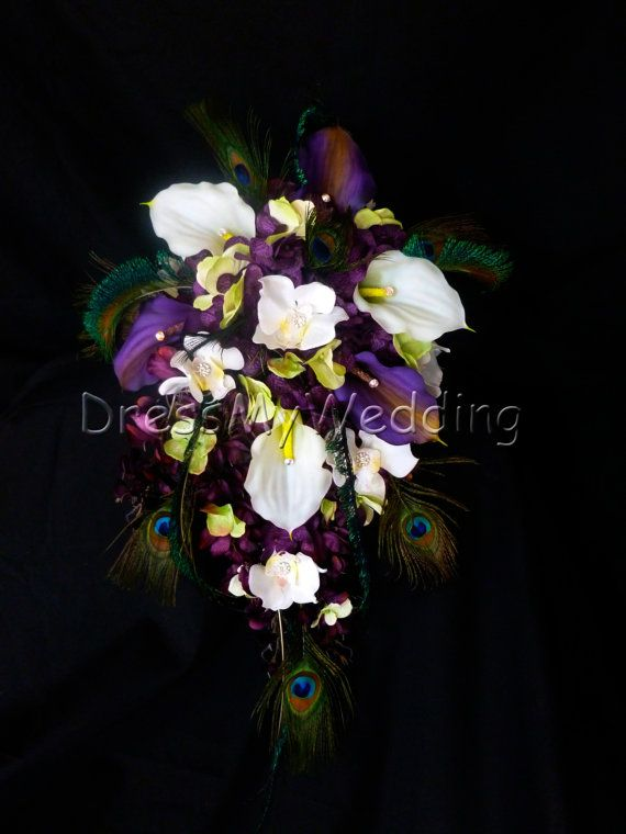 Hey, I found this really awesome Etsy listing at https://www.etsy.com/listing/183705779/plum-purple-cascading-bouquet-white-and