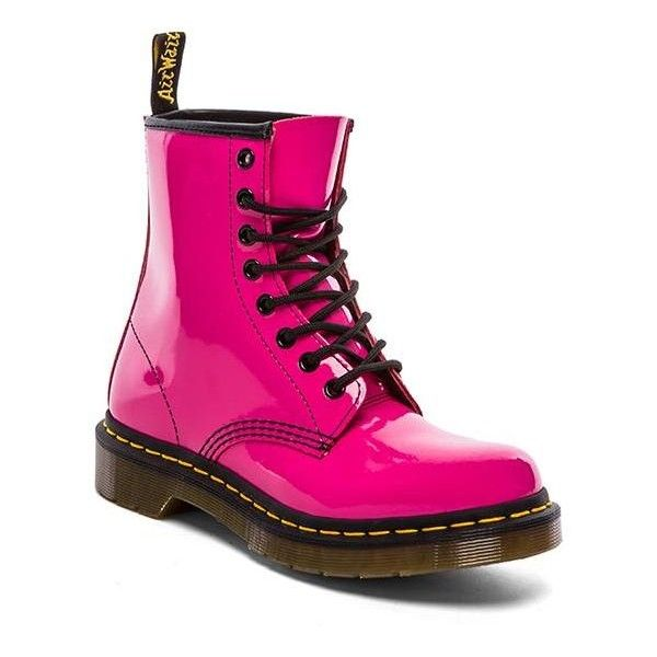 Dr. Martens 1460 W 8-Eye Boot Shoes ($125) ❤ liked on Polyvore featuring shoes, boots, ankle booties, botas, pink, ankle boots, pink ankle boots, dr martens boots, lace up booties and lace up bootie