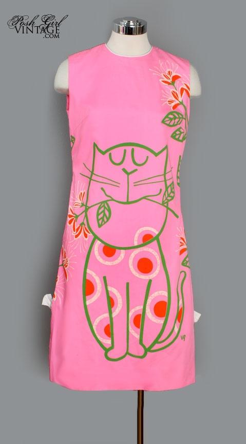 1960's Pink Vested Gentress Kitty Shift Dress