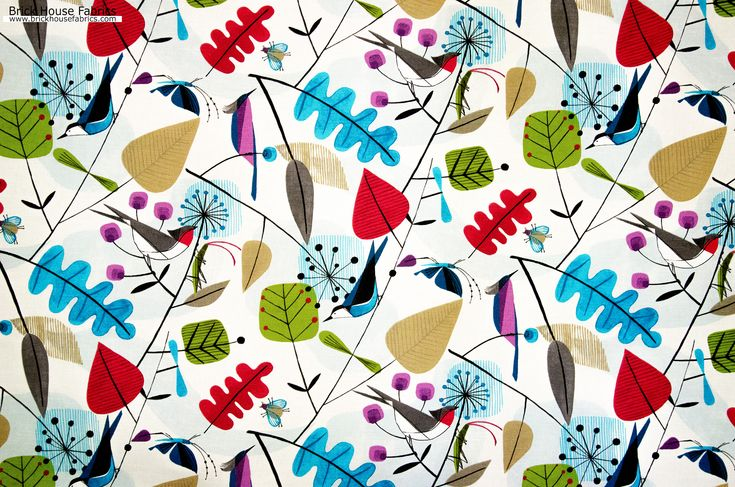 Scandinavian fabric retro modern graphic bird leaves - Birds, flowers, leaves, come together on this retro modern graphic Scandinavian pattern. And it has a few surprises! A nuthatch creeps down a branch surrounded by a swirl of leaves and stylized flowers. - #fabric #diy #crafts #scandi #Scandinavian #upholstery #upholstery_fabric #retro #modern #bird