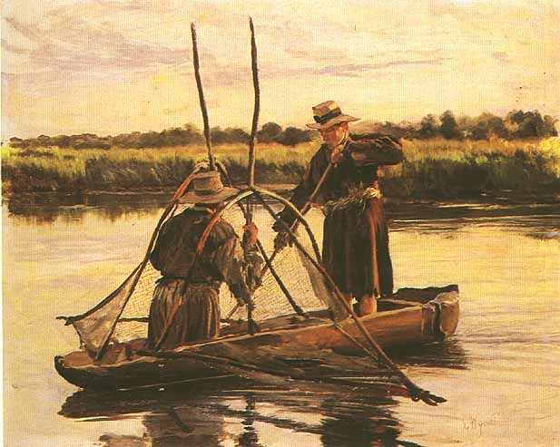 """""""Połów o świcie"""" (The catch at dawn), Leon Wyczółkowski, 1832-1936"""