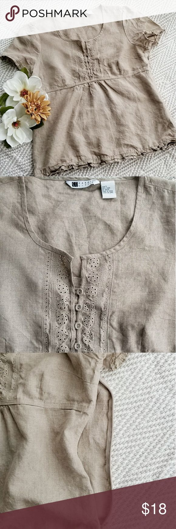 Carole Little Ruffle Linen Top Ruffle details at hem and sleeves, side zipper, 4 front buttons Adorable top. %100 Linen. Large size. Tan color. Excellent Condition Carole Little Tops Blouses