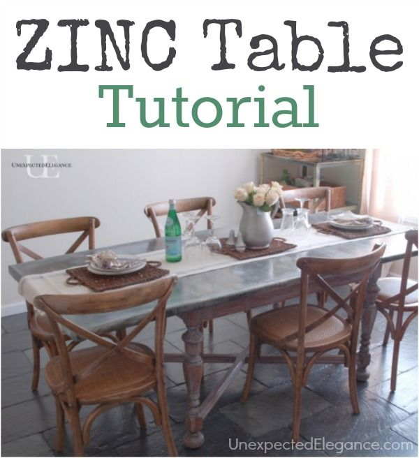 DIY zinc topped dining room table tutorial with step-by-step instructions and resources for materials.