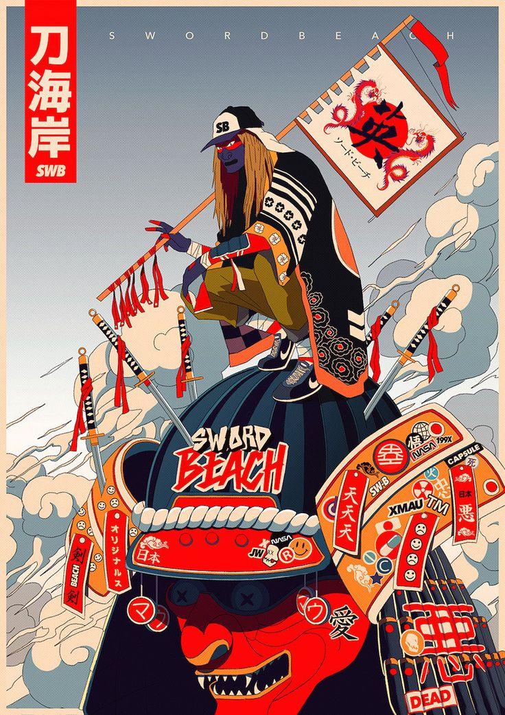 Ávido fã de séries de TV japonesa dos anos 90 e inspirado por Katsuhiro Otomo (criador de Akira e Steamboy), o artista argentino Mau Lencinas criou uma série de gângsters demoníacos mesclados a símbolos kanji, adaptados do folclore tradicional jap...