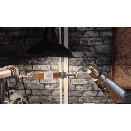 #Industrial clamp spot #lamp with a wooden arm & #metal #shade