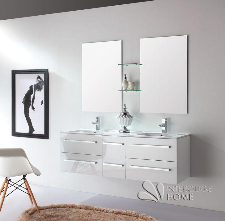 51 best images about meuble salle de bain on pinterest - Meuble de salle de bain double vasque avec pied ...