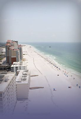 32 miles of sugar white sand in Gulf Shores & Orange Beach, AL.  Shot of East Beach, Gulf shores.
