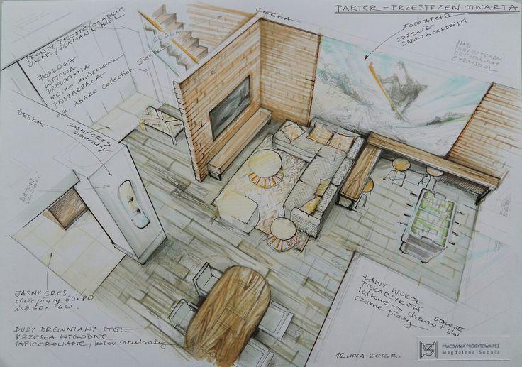Hand render (interior illustration by Magdalena Sobula)