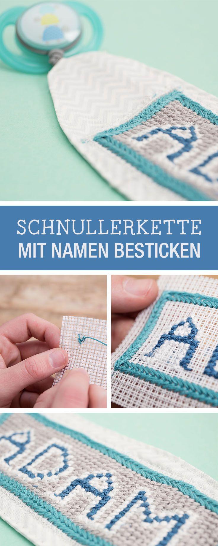 Stickanleitung: Wir zeigen Dir, wie Du eine Schnullerkette mit Namen bestickst / stitching tutorial: how to stitch a name on a dummy chain via DaWanda.com