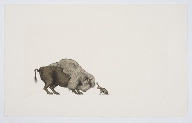 Mel Chin, Self-Portrait (Bison and Hare), 1996, hard-ground etching and aquatint on Rives BFK paper, printed by Vinalhaven Press, 11 x 22 inches edition of 25