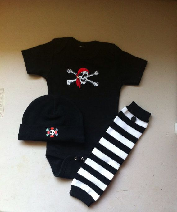 Baby Boy Pirate Outfit, Pirate Beanie, Leg-warmer, Bodysuit, Baby Pirate, Free Pirate Pin Back, Tampa Bay Buccaneers, Baby Pirate Costume on Etsy, $34.00