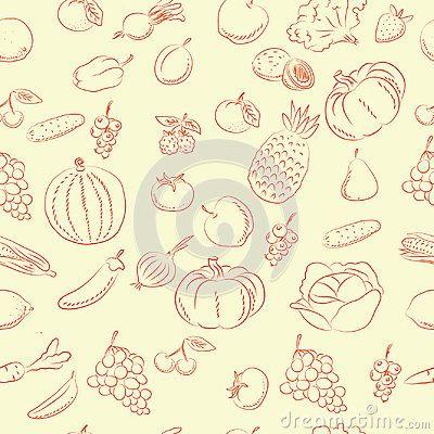 Vegetables and fruits  doodles pattern