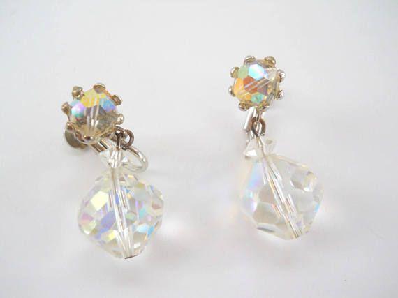 Vintage Crystal Cut Screw On Earrings  Vintage Drop Dangle