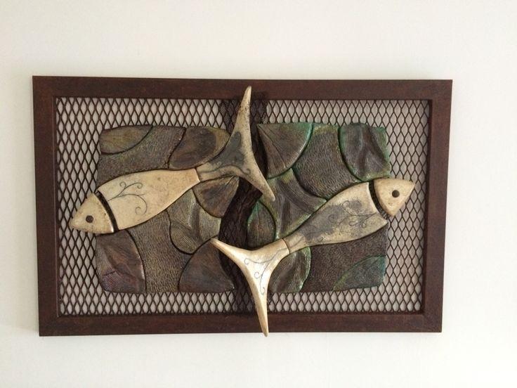 Mural en hierro y cerámica raku