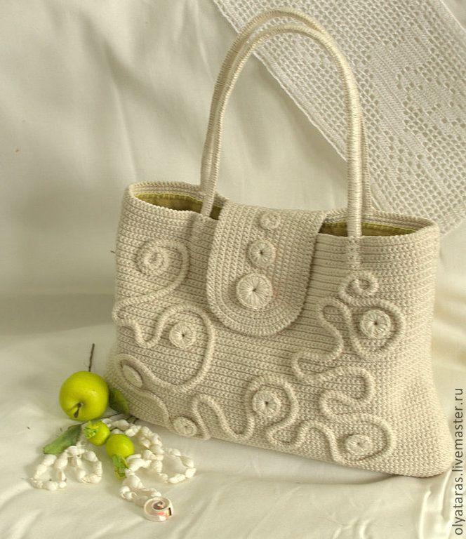 """Сумочка """"Жемчуг"""" - белый,лен,авторская сумка,Авторский дизайн,Аксессуары handmade"""