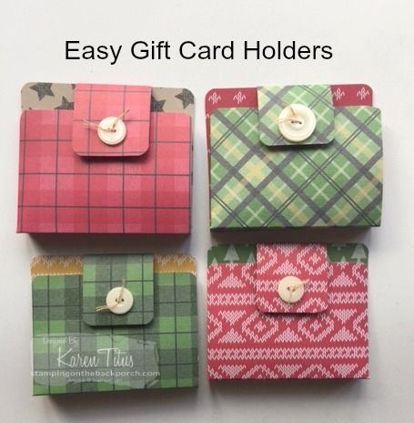 """Easy gift card holders made with 6"""" x 6"""" designer series paper. Click through for instructions."""