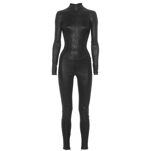 APHERO Catsuit Zip-up Black Lambskin jumpsuit ($2,155) ❤ liked on Polyvore featuring jumpsuits, outfit, black leather, jumpsuit, romper, playsuit jumpsuit, zip up jumpsuit, playsuit romper, jump suit and romper jumpsuit