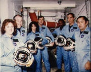 Christa McAuliffe, first teacher in space; aboard space shuttle Challenger when it exploded