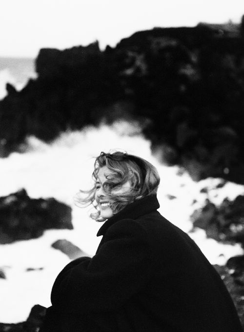 Wearing His coat to keep warm. X (Portrait of Ingrid Bergman during Stromboli, by Roberto Rossellini, 1950)
