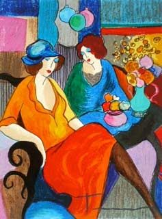 "Itzchak Tarkay Hand Signed and Numbered Serigraph:""Chit Chat"""