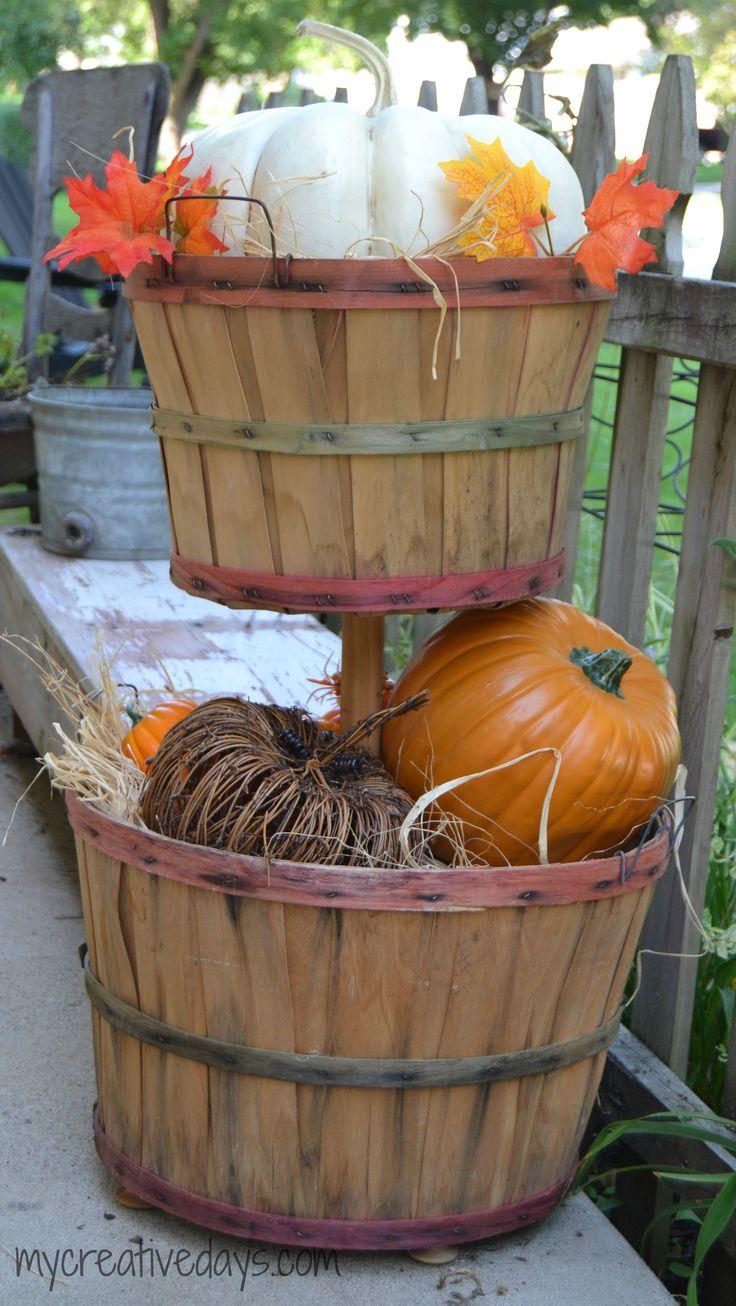 DIY Tiered Bushel Baskets mycreativedays.com #falldecor #fallDIY