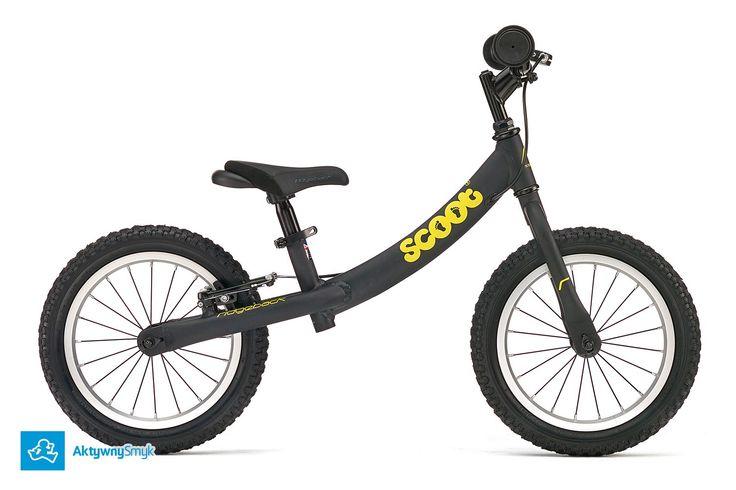 Duży czarny rowerek biegowy Ridgeback Scoot XL posiada regulację siodełka od ok. 39-55 cm, regulację wysokości kierownicy, kierownica bez blokady skrętu, pompowane opony 14 cali, hamulec tylnego koła typu v-brake.