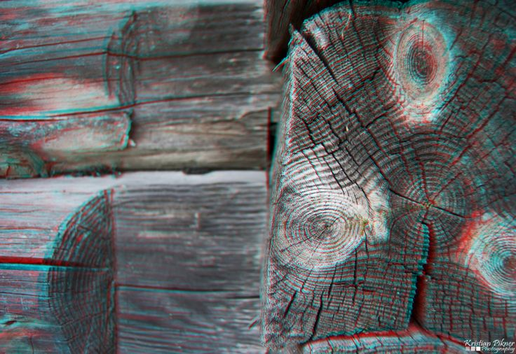 Wood patern 3D Anaglyph photo (Red-Cyan)