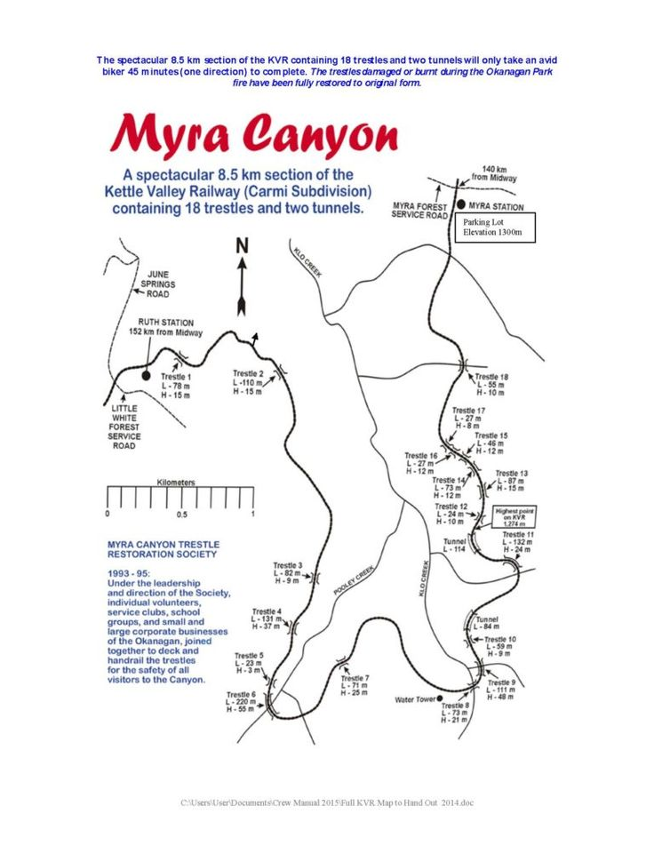 Printable Hiking Walking and Biking Trails along the Myra Canyon Trestles on the KVR (Kettle Valley Railway) close to Kelowna - This map is from Penticton and Wine Country Tourism Information Centre