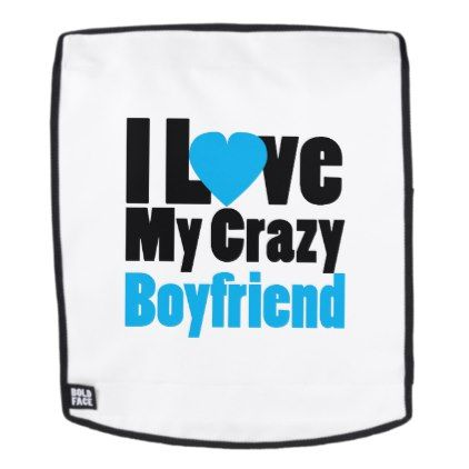 Couple matching I Love My Crazy Boyfriend Backpack - valentines day gifts love couple diy personalize for her for him girlfriend boyfriend