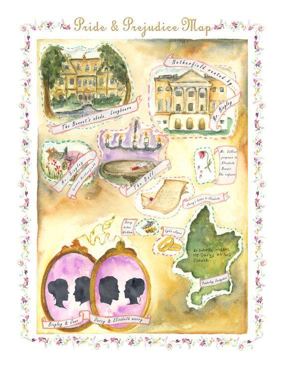 "Pride and Prejudice Map 8.5 x 11"" Print of watercolor illustration"