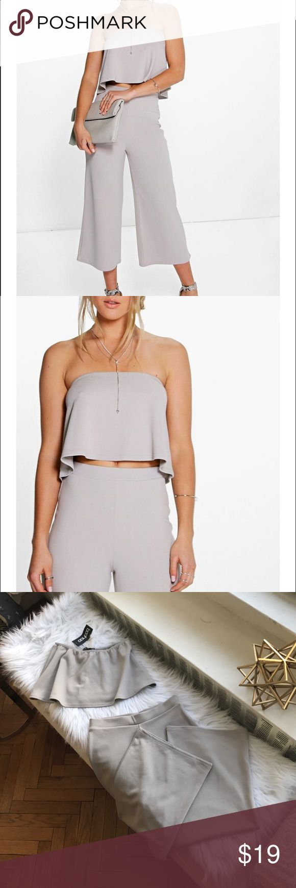 BOOHOO Set!! Cari Bandeau Top & Wide Leg Pants Adorable set including light grey strapless crop top and high waisted wide leg pants. Pants have a stretchy waist and the pant legs themselves are somewhat stretchy (95% polyester 5% elastane). Very chic paired with some stilettos for a night out. Never worn before! Boohoo Tops Crop Tops