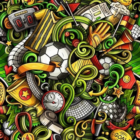 Cartoon Doodles Soccer Seamless Pattern Graphicriver Bestdesignresources Cartoons Vector Doodle On Photo Graphic Illustration