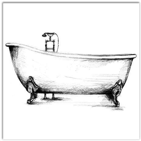 Vintage Bathtub Graphic Art Print On Canvas With Images
