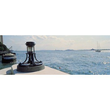 Navigational light at a harbor New York City New York State USA Canvas Art - Panoramic Images (36 x 13)