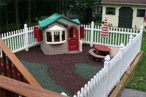 I love this idea. still have room in the backyard for the dog to run around but the kids play area stays nice and tidy. by luella