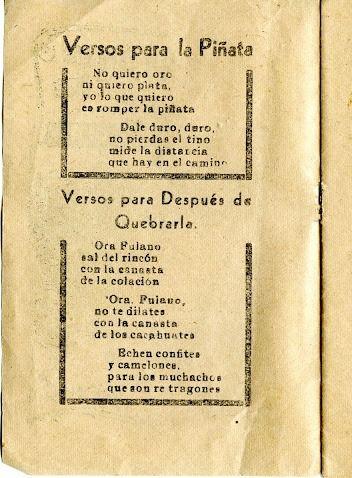 Versos para quebrar la Piñata posadas, México