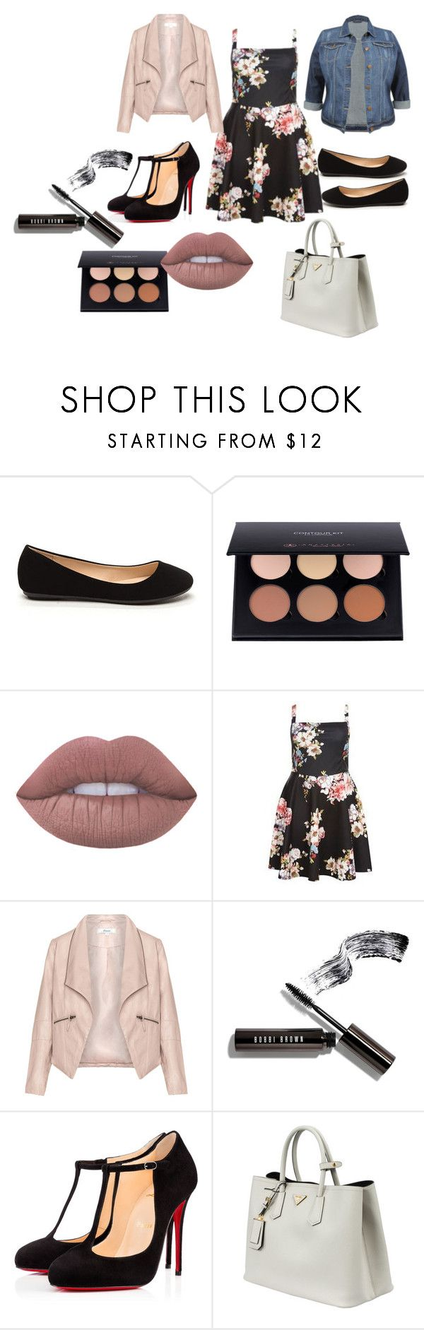 """""""Curvy Date"""" by lynetteamaro on Polyvore featuring Lime Crime, Dorothy Perkins, Zizzi, Bobbi Brown Cosmetics, Christian Louboutin, Prada, SexyandCurvy and curvydate"""