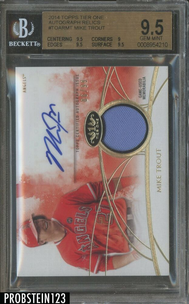official photos 99f8e 1627a 2014 Topps Tier One Mike Trout Angels Game Used Jersey AUTO ...