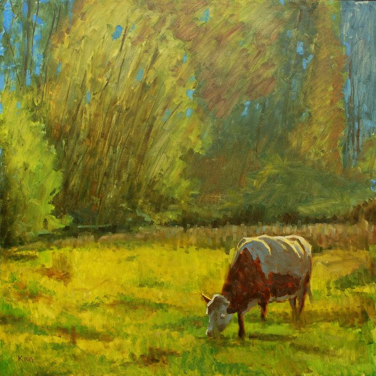 oil painting landscape cow in a pasture
