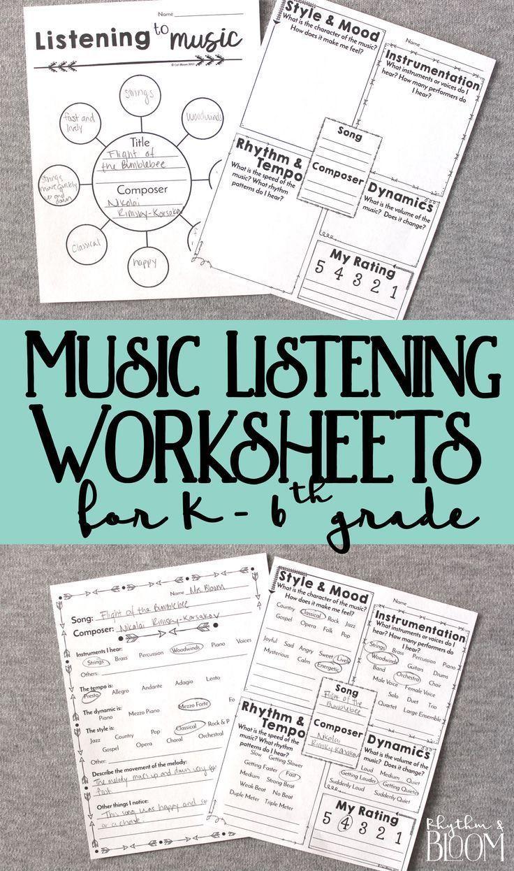 Music Listening Worksheets, K-6 | Music class, Kindergarten and ...