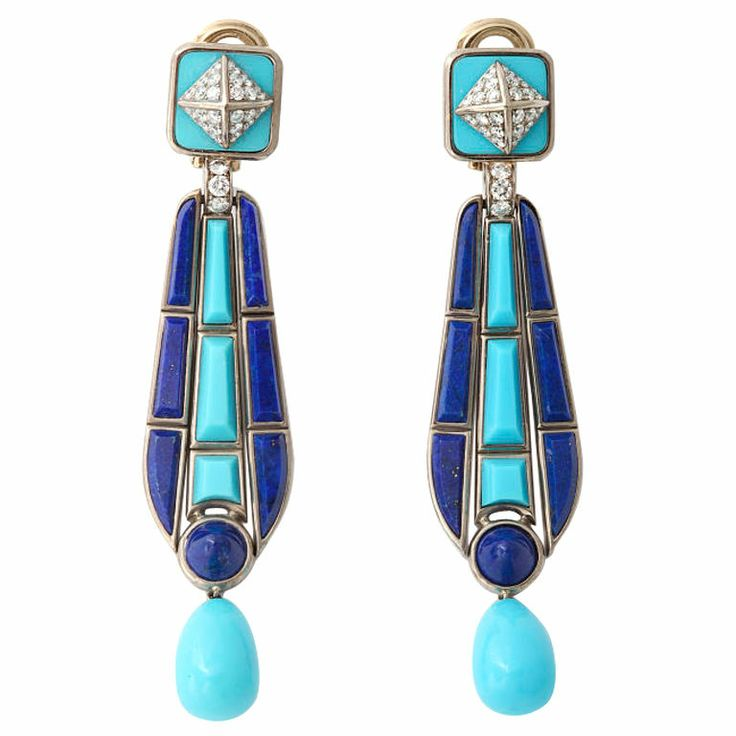 FRED LEIGHTON Egyptian Style Gold Earrings -