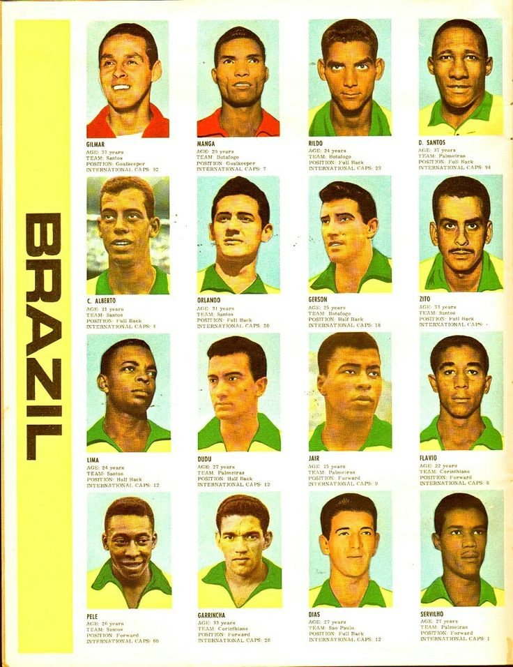 Brazil team stickers for the 1966 World Cup Finals.